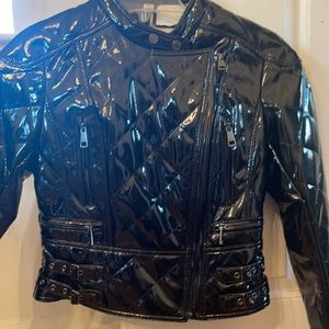 Burberry quilted vegan patent leather moto jacket